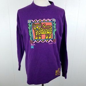 Vintage 90s Signal Sports Purple Leopard Graphic T